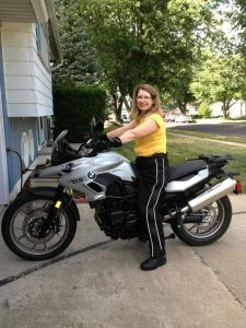 Hi everyone. I have made it back home and will soon be updating this site with pictures and stories of my trip to Alaska.   In the mean time, here is a picture of my wife and her new bike. We picked it up Saturday at Gateway BMW in St. Louis. I got to ride it home. We have lots of plans for upgrading the bike to get it ready for touring. Touratech will be able to stay in business another year.